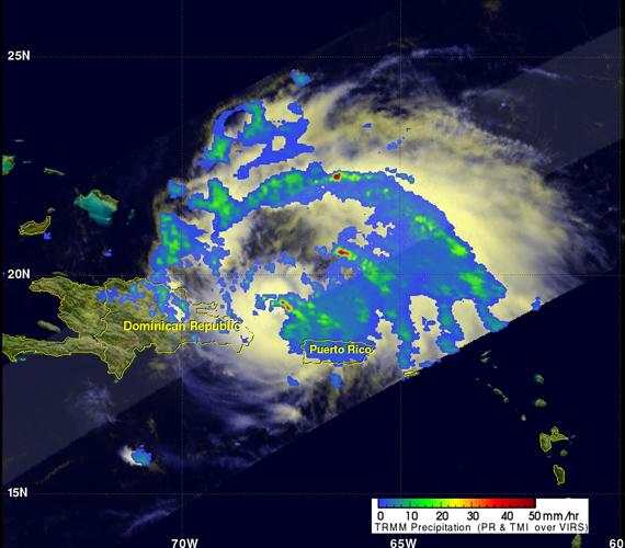 A műholdfelvétel a vihar magjában tapasztalható csapadékintenzitást mutatja meg. A fotó augusztus 22-én készült.