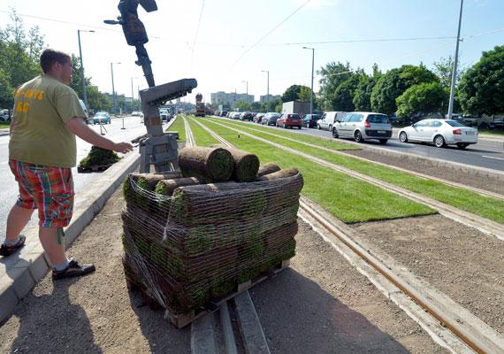 Füvesítés a Vörösvári útnál. A BKK képe a hétvégén jött ki.