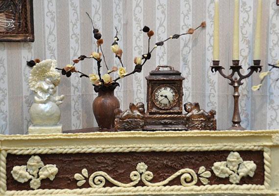 Az elkészült csokoládészoba 20 négyzetmétert foglalt el az áruházban.