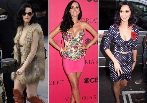 Katy szereti a feltűnést és a nagy mintákat. Nála nem lehet elég pöttyökből vagy rózsaszínből, és az énekeső köztudottan odavan a cuki kiegészítőkért. Ha azonban hidegre fordul az idő, nála is jó szolgálatot tesz egy trendi szőrmemellény.