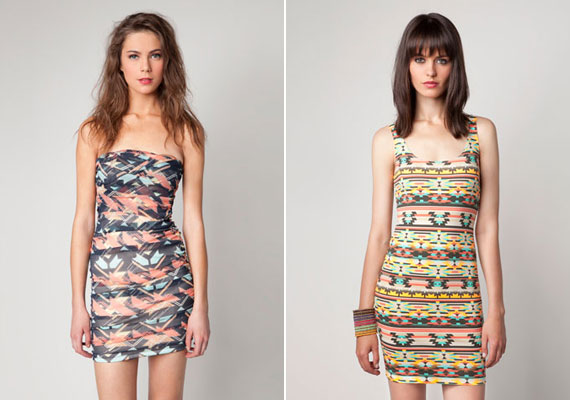 Nyomott mintás: Bershka, mindkét ruha 4595 forint.