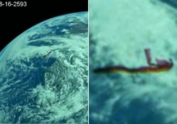 Mi repked a Föld felett? A kinagyított NASA-fotón egy azonosítatlan tárgy látszik.