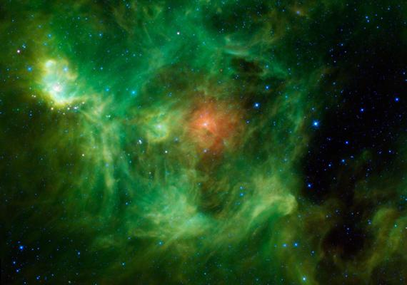 A piros és zöld halmaz tulajdonképpen egy csillagóvoda, ugyanis a fotó a csillagok születését örökítette meg. Kattints ide a nagy felbontású képért!