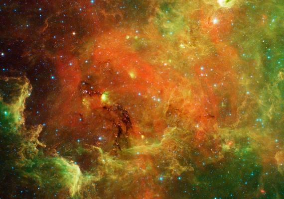 A NASA Spitzer űrteleszkópja által készített felvételen az Észak-Amerika-köd látható. Kattints ide a nagy felbontású képért!