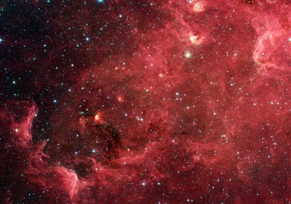 A Spitzer űrteleszkóp másik felvétele az Észak-Amerika-ködről. Kattints ide a nagy felbontású képért!