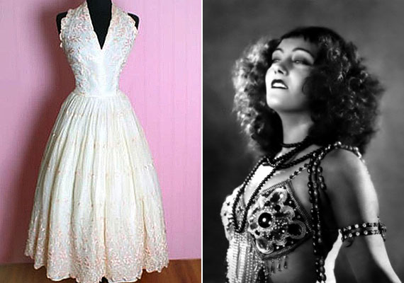 A Gyöngy nevezetű ruhát az ötvenes években tervezte Nina Foch és Gloria Swanson - ő látható a képen is. A ruha értéke 100 ezer dollár volt.