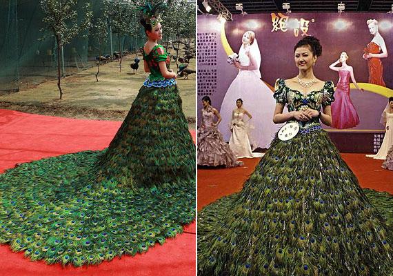 A pávatollból készült ruha Vera Wang zsenialitását dicséri, értéke pedig eléri a másfél millió dollárt.
