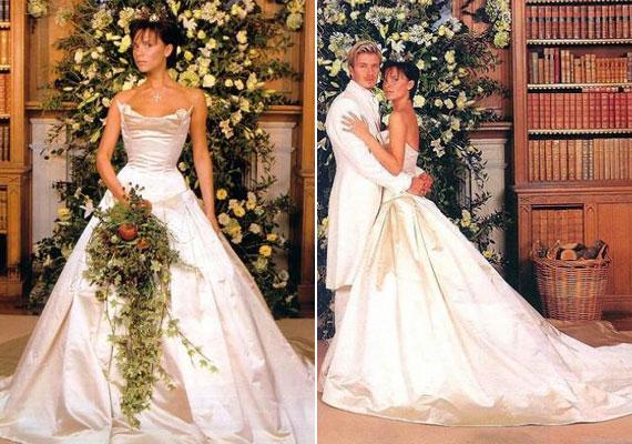 Victoria Beckham 10 ezer fontot érő ruhakölteményben állt oltár elé focista férjével.