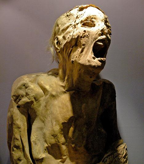 Sikoltó múmiák  1886-ban Gaston Maspero régész minden bizonnyal halálra vált, amikor felnyitotta egy múmia koporsóját, és egy időtlen sikolyba merevedett arc bámult vissza rá. A lehetséges magyarázatok között szerepelt, hogy a múmiát élve temették el - később azonban sok hasonló lelet is előkerült, és világossá vált, hogy a rémisztő arc oka a bomlási folyamat és a hátraeső koponya.  Kapcsolódó szavazás: Melyik szellemfotó ijesztőbb? »