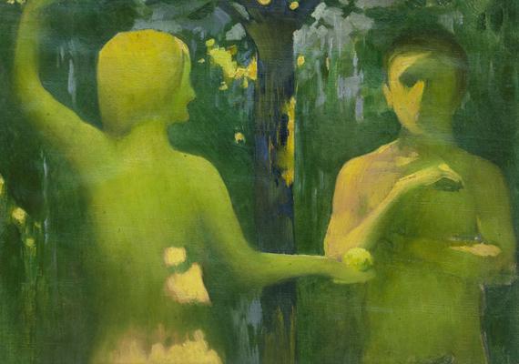 A képen Vaszary János Ádám és Éva nevet viselő festménye látható.