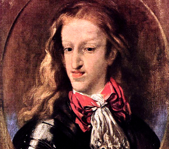 II. Károly 1665-ben, négyévesen lett spanyol király. Számos testi hiba sújtotta, impotens volt, és elméje sem volt ép. Ördögűzésnek is alávetették, de mindhiába.