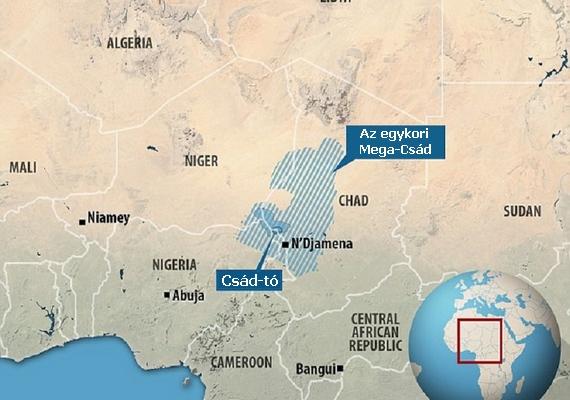 A Csád-tó 95%-ának eltűnése az afrikai szárazság, az időjárás változásai és az emberi beavatkozások következménye. Egykor nagyobb volt a vízfelülete, mint a Nagy-tavaké együttvéve.