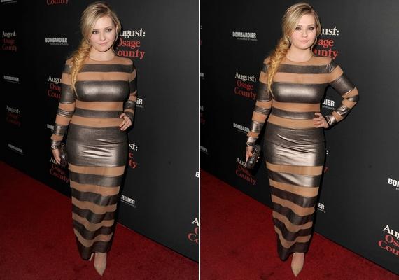 Olyan hatást keltett, mintha ezüst szigszalaggal lenne körbetekerve a színésznő teste.