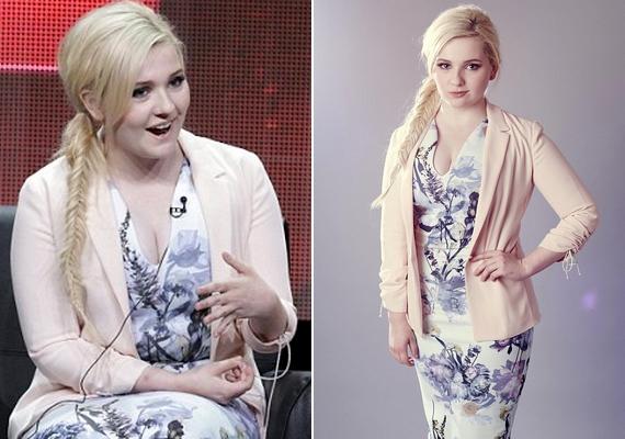 Abigail imád csinosan öltözködni, a parti előtt részt vett egy tévés rendezvényen, ahol testhezálló virágos ruhát viselt.