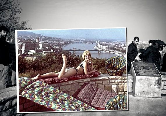 Gellérthegy, háttérben a Budai Vár és a Lánchíd, a Palma Gumigyár reklámfotója.