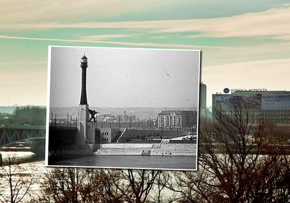Petőfi - Horthy Miklós - híd, budai hídfő, Haditengerészeti Hősi Emlékmű.