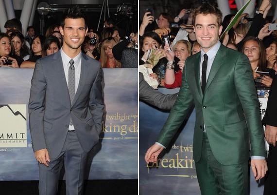 A filmek két szívtiprója, Taylor Lautner és Robert Pattinson egyaránt öltönyben érkezett. Szerinted melyiküknek állt jobban?