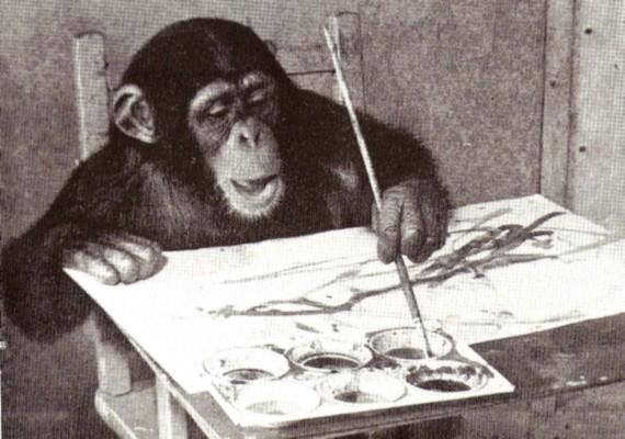 Congo, a tehetséges csimpánz több mint négyszáz képet festett két év alatt.