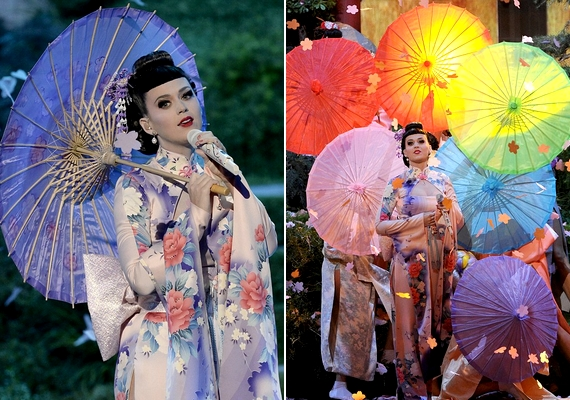 A 29 éves Katy Perry gésának öltözött, és szerelése kettős visszhangot váltott ki: voltak, akik lenyűgözőnek találták, sokak szerint viszont illetlen volt.