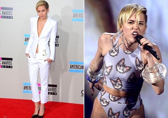 Szombaton töltötte be 21. életévét Miley Cyrus. A vörös szőnyegen egy mélyen dekoltált nadrágkosztümöt, a színpadon pedig macskamintás, sokat sejtető fellépőruhát viselt.