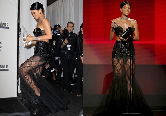 Rihanna is hódított dögös, fekete ruhájában. A 25 éves énekesnő külsején a frizurája volt az egyetlen, ami negatív kritikákat kapott.