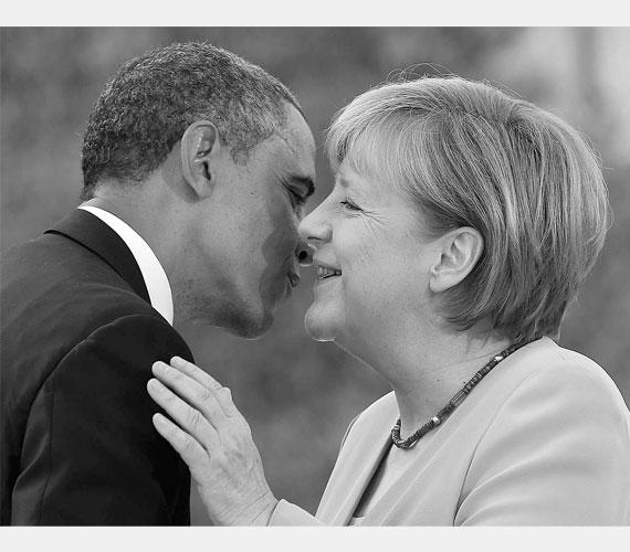 A kancellár Barack Obamát fogadja 2013 júniusában.
