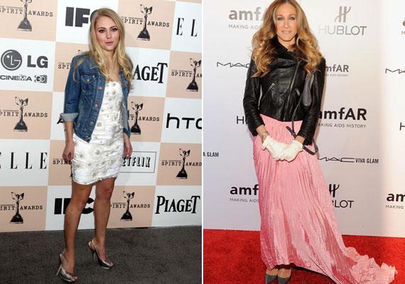 A különböző stílusokat mindkét színésznő jó érzékkel vegyíti a vörös szőnyegen.