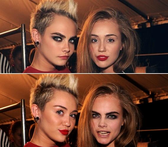 Cara Delevingne-nek és Miley Cyrusnak meg kellene gondolnia a frizuraváltást a valóságban is, mert mindkettőjüknek jól áll a másik haja.