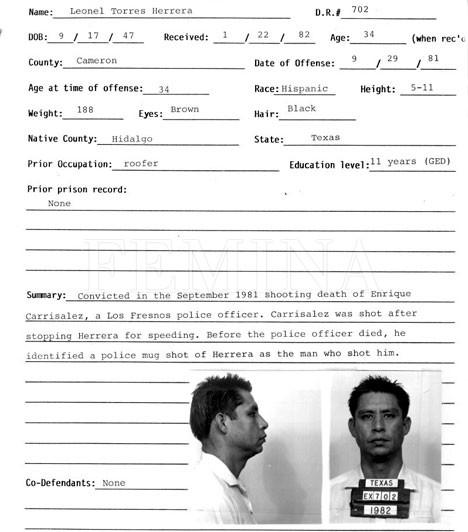 """Lionel Herrera  Lionel Herrerát két rendőr meggyilkolása miatt ítélték halálra - az egyikük halálos ágyán még azonosította is egy fényképről Herrerát. A gyilkos azonban nem ő volt, hanem a bátyja, Raul Herrera, aki később, halála előtt be is ismerte a gyilkosságokat. Lionel Herrerát méreginjekcióval végezték ki Texasban, utolsó szavai ezek voltak: """"Ártatlan, ártatlan, ártatlan vagyok! Én egy ártatlan ember vagyok, és valami nagyon rossz dolog történik itt ma este."""""""