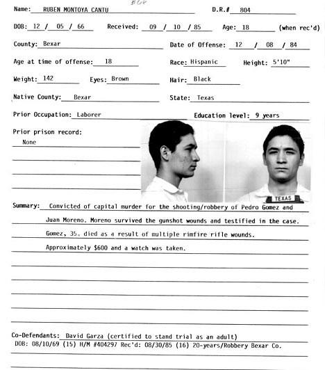 Ruben Cantu1984. november 8-án két tinédzser tört be egy lakásba, ahol két munkás aludt - kirabolták, majd lelőtték őket, ám az egyik férfi, Juan Moreno életben maradt, és később a gyanúsítottak fotói közül Ruben Cantu képét választotta ki. A fiú ellen egyedül Moreno vallomása szólt, mégis méreginjekció általi halálra ítélték. Moreno később azt mondta, hogy nyomást érzett a rendőrök részéről, hogy Cabtu képére mutasson, holott egyáltalán nem biztos benne, hogy ő volt a tettes. Cantu tettestársa később magára vállalta a gyilkosságot.
