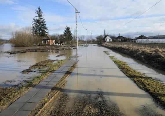 Az Ipoly folyó kiömlött a Dankó Pista útra is.