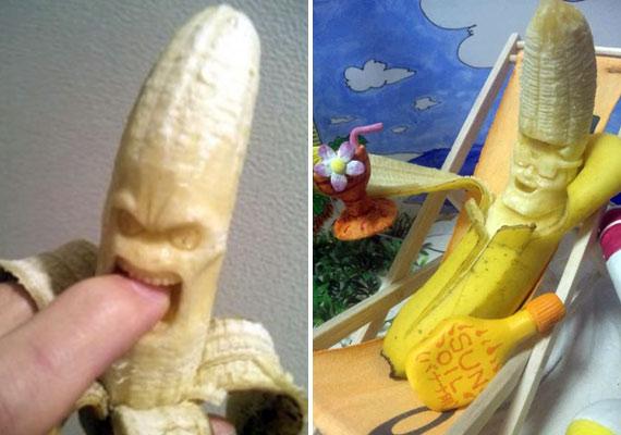 Harapós kedvű banán és napfürdőző banán.