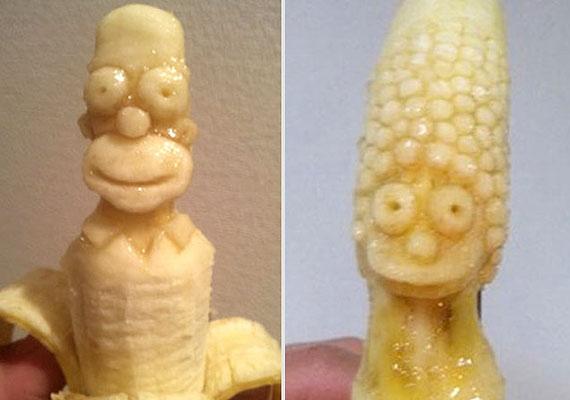A sárga gyümölcshöz jól illenek a Simpson-karakterek.