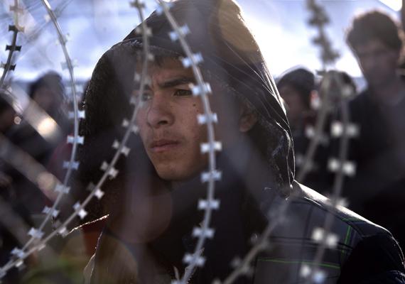 Egy afgán bevándorló szomorú arca közelről, a szöges drót mögül.