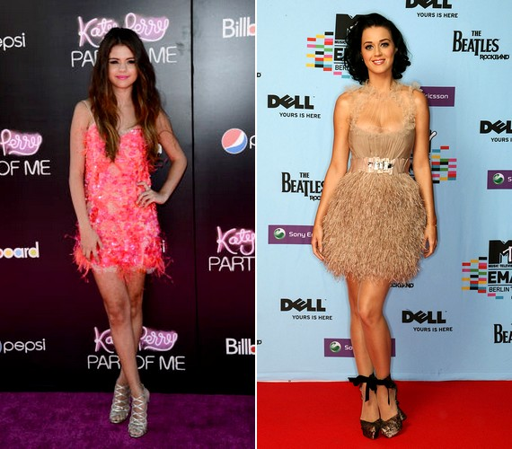 Selena Gomez és Katy Perry ugyancsak szívesen feszít madártollas öltözékben.