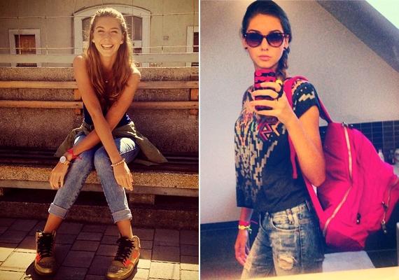 Bogi átlagos, laza diáklányként öltözködik az iskolába.