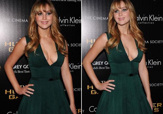A zöld ruha egészen mélyen kivágott, amitől akár közönségesnek is tűnhetne, de a vastag pántok ellensúlyozzák a merész dekoltázst. Nem beszélve arról, hogy a derékberakás kiemeli Jennifer vonalait.