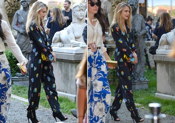 A modell természetesen egy Stella McCartney overallt viselt a partin a 2015-ös kollekcióból.