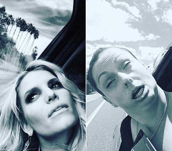 """""""Kocsikázunk! Élvezem, ahogy a hajamba kap a szél!"""" - Celeste ezen a fotón Jessica Simpsont parodizálta ki."""