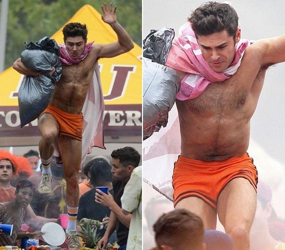 A film másik főszereplője Zac Efron, akit szintén lekaptak póló nélkül a forgatáson.