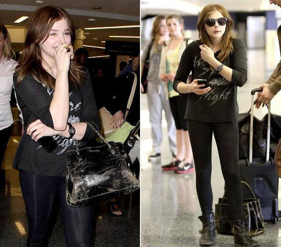 Chloe Moretz hétfőn fekete cicanadrágban, fekete felsőben, csatos csizmában és egy viseletes táskával jelent meg a Los Angeles-i reptéren. Az egykor szöszi színésznő hajszínt váltott: már a barnák táborát erősíti.
