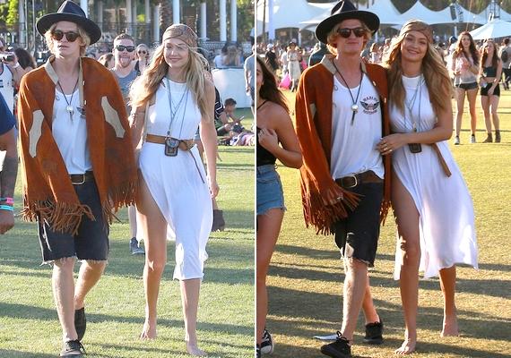 Az énekes Cody Simpson kéz a kézben sétálgatott barátnőjével, Gigi Hadiddal - mindketten átvették a hippi életérzést, a modell még cipőt sem húzott.