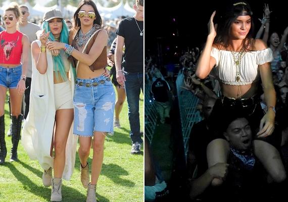 Kylie és Kendall Jenner az egész hétvégét a fesztiválon töltötték barátaik társaságában.