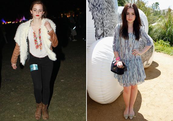Emma Watsonnak remekül állt a vintage szerelés, Lily Cole pedig bájosan festett az egyszerű kis ruhában.