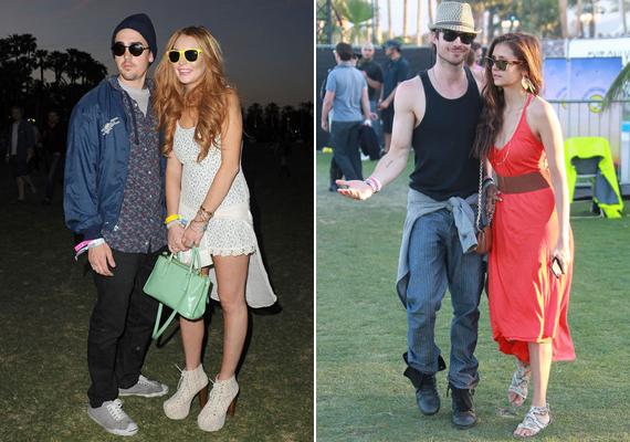 Lindsay Lohannek kapaszkodnia kellett titokzatos pasijába, ha ebben a cipőben járni akart, Ian Somerholder és Nina Dobrev viszont hibátlanul adták a hippipárt.