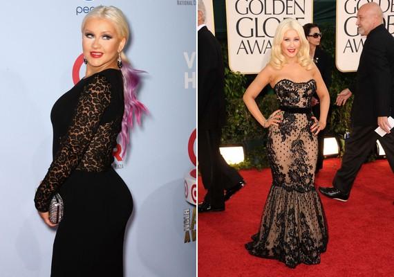 Christina Aguilera nyitott hátrésszel vonta el a figyelmet husis fenekéről, majd egy ügyes szabású ruhával újra ráirányította a tekintetet kerek csípőjére.