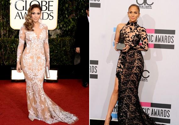 Jennifer Lopez többször is ferde szabású, csipkés ruhával nyújtotta meg az alakját.