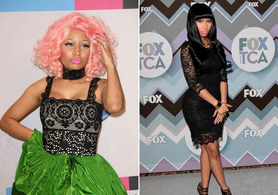 Nicki Minajnak gömbölyded popsija miatt inkább csak a felsőtestén mutat jól a csipke, de ha mindenképpen egyberuháról van szó, akkor csakis a fekete jöhet szóba.