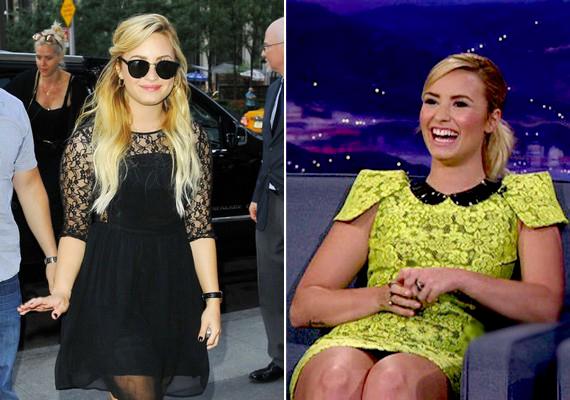 Demi Lovato kerekded, de arányos testalkatán szinte bármilyen színű és fazonú csipkeruha jól áll.