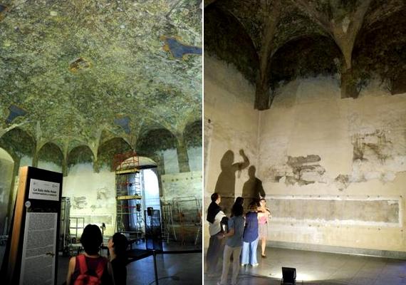 Leonardo a terem oldalsó falain is dolgozott. Nem tudni, be tudta-e fejezni művét Milánó francia megszállása előtt. A művész 1499-ben Mantovába menekült, a termet pedig a hódító csapatok először katonai szállásként, később istállóként használták.